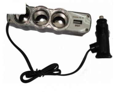 АДАПТЕР 3В1 ОТ ЗАПАЛКА АВТОМОБИЛ + USB