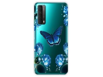 Силиконов калъф за Huawei P smart 2021 / Huawei Y7a, Сини пеперуди и цветя