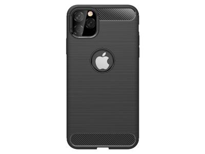 Силиконов калъф Carbon Fibre за iPhone 11 Pro, Черен