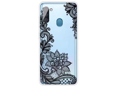 Силиконов калъф за Samsung Galaxy A11, Дантелени цветя