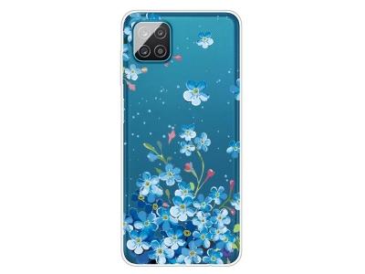 Силиконов калъф за Samsung Galaxy A12, Сини цветя