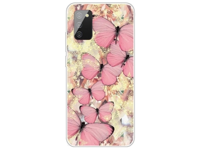 Силиконов калъф за Samsung Galaxy A02s, Розови пеперуди