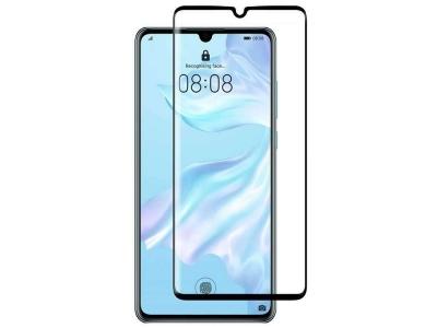 Стъклен Протектор 9D Full за Huawei P30, Черен