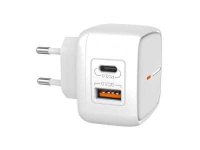 Зарядно 220V XO L60 2USB -  QC 3.0/ PD USB-C - White