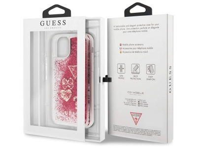 Оригинален Гръб Guess GLITTER CHARMS за iPhone 12 / iPhone 12 Pro, Червен