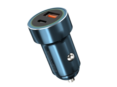 Зарядно 12V / 24V XO Design 2USB PD USB TYPE C / USB -A Blue
