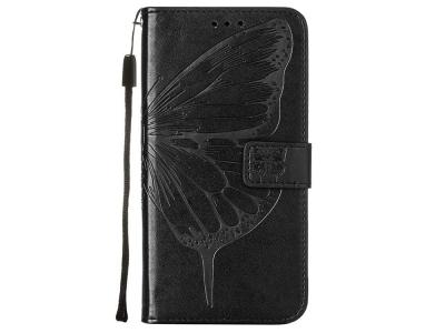 Калъф Тефтер за Motorola Edge S/Moto G100, Черен с пеперуда