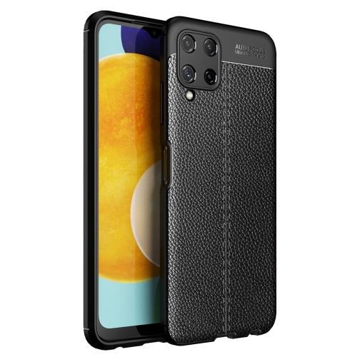 Силиконов калъф Litchi за Samsung Galaxy A22 4G, Черен