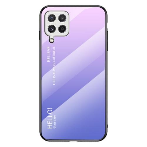 Калъф Гръб Glass за Samsung Galaxy A22 4G, Розов- Лилав