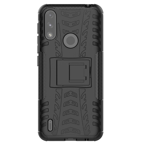 Удароустойчив калъф с поставка Hybrid Pattern за Motorola Moto E7 Power/Moto E7i Power, Черен