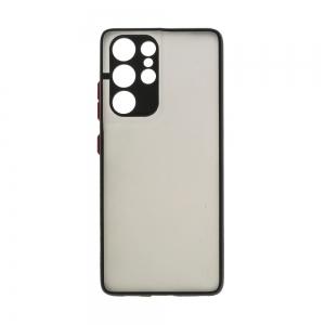 Удароустойчив Калъф  Color Button Bumper за Samsung Galaxy S21 Ultra,Черен