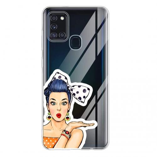 Силиконов калъф Color за Samsung Galaxy A21s, Арт Момиче с Панделка