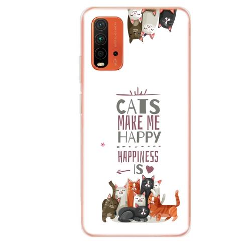Силиконов калъф ArtDesign за Xiaomi Redmi 9T, Щастливи котки