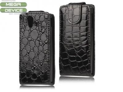 Crocodile Leather Flip Case for Sony Ericsson Xperia Ray ST18i ST18a, Black