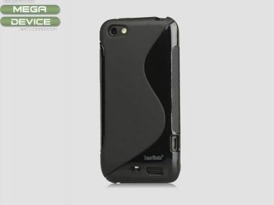 S-Line Wave TPU Case Cover for HTC One V T320e, Black