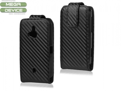 Carbon Fibre Flip Leather Case for Sony Ericsson Xperia Live with Walkman WT19i WT19a, Black