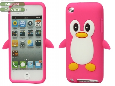 SILICON PROTECTOR FOR iPod 4 4G 4TH GEN PENGUIN - PINK